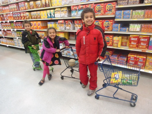 The Commissary has kids sized shopping carts- but beware they are so, so, so loud.  Even the kids said we sounded like a stampeded of elephants, heading through the store, except Elliana's, her's squeaked like a mouse (which explained the elephant stampede.)